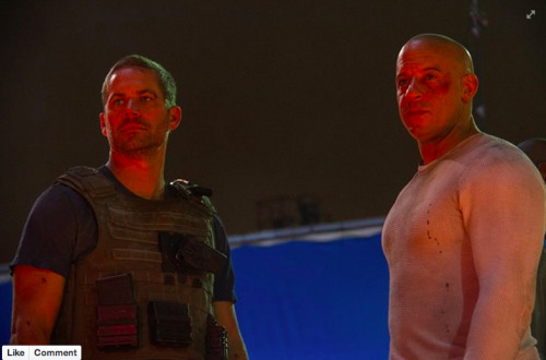 From Facebook:  Vin Diesel  The last scene we filmed together…There was a unique sense of completion, of pride we shared… in the film we were now completing… the magic captured… and, in just how far we've come…Fast and Furious 7 will be released…April 10th 2015!P.s. He'd want you to know first…