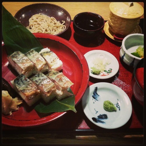 Saba Sushi set w/ Cold Soba (at Ootoya)
