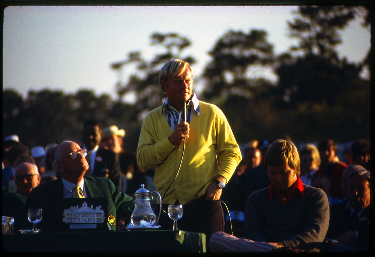 Jack Nicklaus basks in the glow of his 1972 Masters victory. Credit: Golf Digest Resource Center
