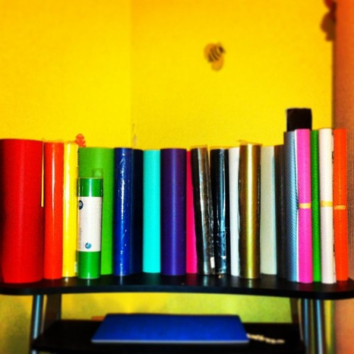 My pretty vinyls! Red, Orange, Yellow, Tree Green, Lime Green, Blue, Navy Blue, Mint, Violet, Hot Pink, Gray, White, Brown, Black, Silver, Gold! & Carbon Fiber: White, Black, Silver, Orange, Pink, Lime Green. 🌈✨ (at Vinyl Decals Galore )