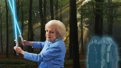 Betty White, Golden Girls & Star Wars. Fantastic. I'm unsure of the sourcing on this, or I'd give credit where AWESOME credit is due. I'll forever appreciate Betty White and her incred-fucking-awesomness. That is all.