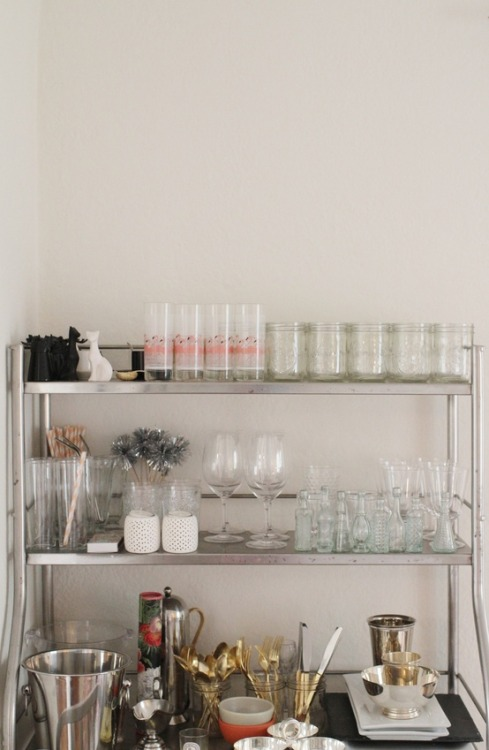 Emily Schuman home tour // vintage bar cart