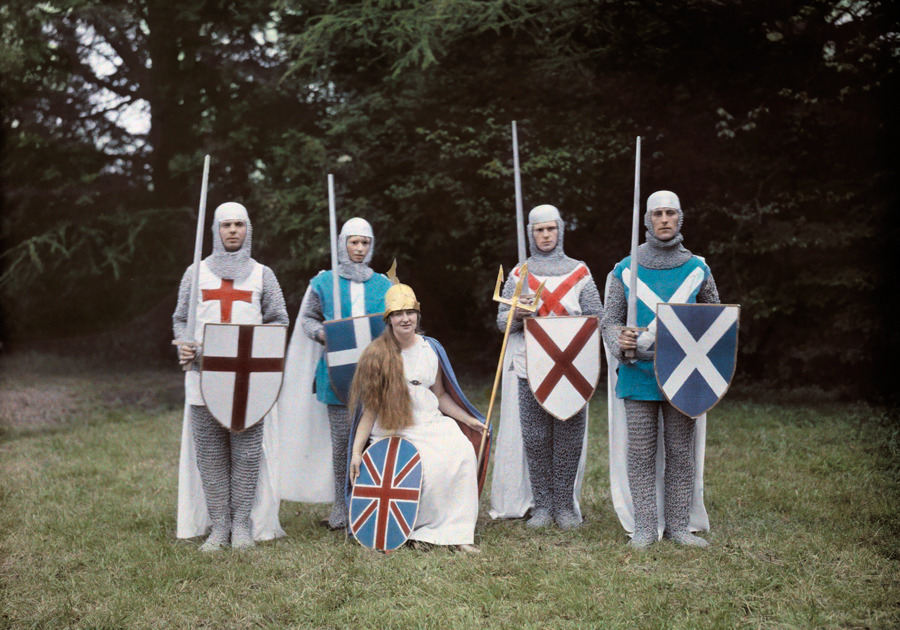 natgeofound:  Actors dress for a pageant as Britannia and her four knights in Hampshire, England, November 1928.Photograph by Clifton R. Adams, National Geographic