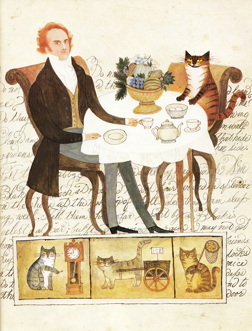 THE KING OF CATS SENDS A POSTCARD TO HIS WIFE  (via A Visit to William Blake's Inn: Vintage Illustrated Verses for Innocent and Experienced Travelers | Brain Pickings)