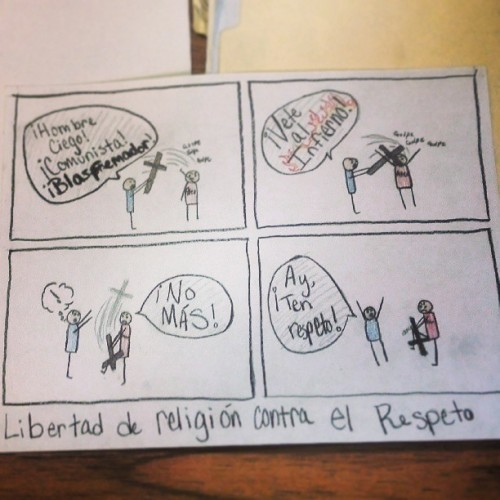 Making political cartoons in Spanish class. #FreedomofReligion #firstamendment #politicalcartoon #spanishclass #religion #atheism #enespanol #espanol