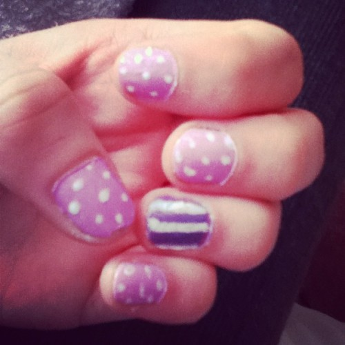 #nails #nail #nailart #lilac #lavender #purple #purples #print #pattern #stripe #dot #spot #polkadot #line #love #bored #hobby #hobbies #like #hand #girly #girl #fail #spring #idea #attempt #messy