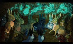 Watership Down fanart: Dandelion telling stories about El-ahrairah, the Black Rabbit of Inlé and Prince Rainbow.