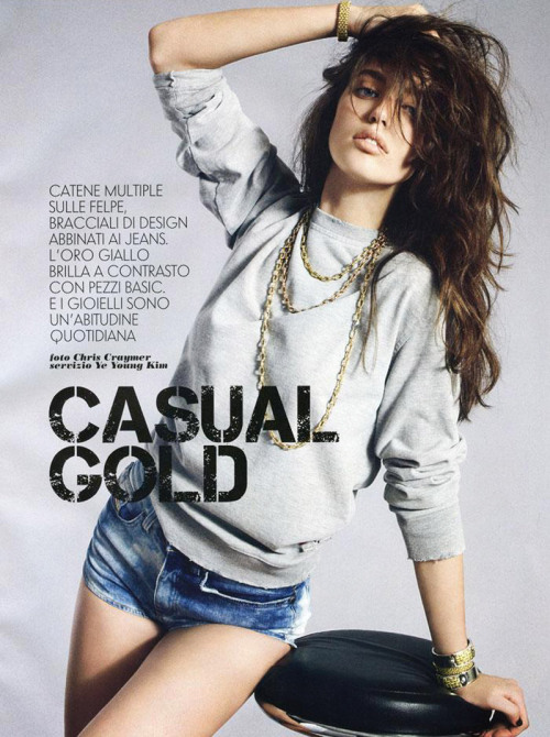helloglossy:  casual gold. emily didonato for vanity fair italia.