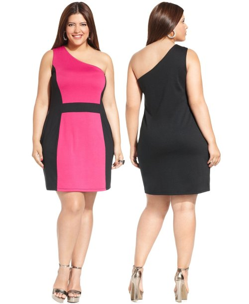 plussizeebony:  Denise Bidot in ING Plus Size Dress, One-Shoulder Colorblock