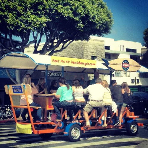 This is amazing. Pedal powered car in Santa Monica. #onlyinla #santamonica