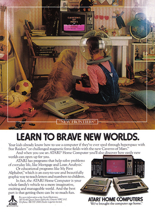 femfreq:  Print advertisement for ATARI from 1982 featuring a young girl playing video games.  cute