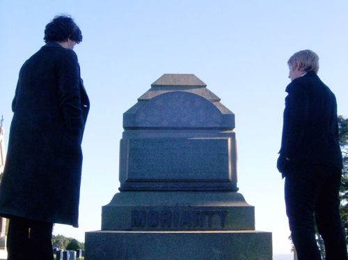"""Sherlock— I saw the reports. Half his skull was on the roof, there was blood everywhere. He's dead."" ""You thought I was dead, and I came back. What makes you think he couldn't do the same?"" [SH + JW]"