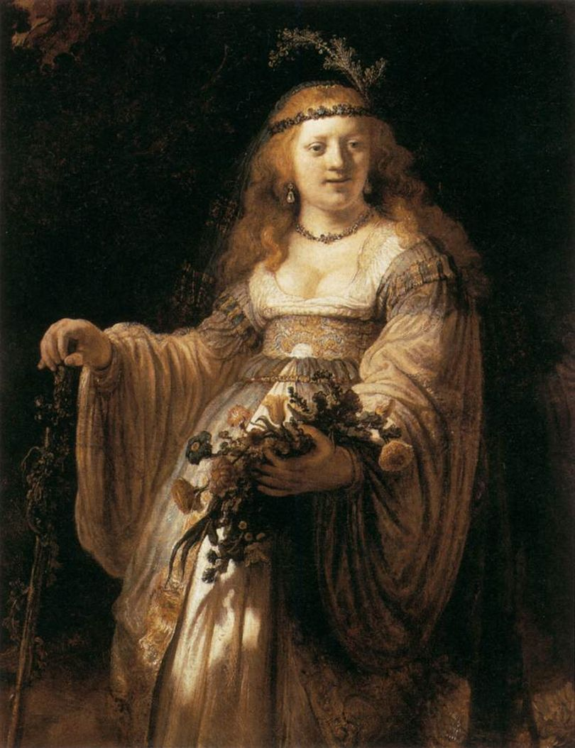 REMBRANDT [Dutch Baroque Era Painter and Engraver, 1606-1669] Saskia van Uylenburgh in Arcadian Costume1635Oil on canvas, 124 x 98 cmNational Gallery, London