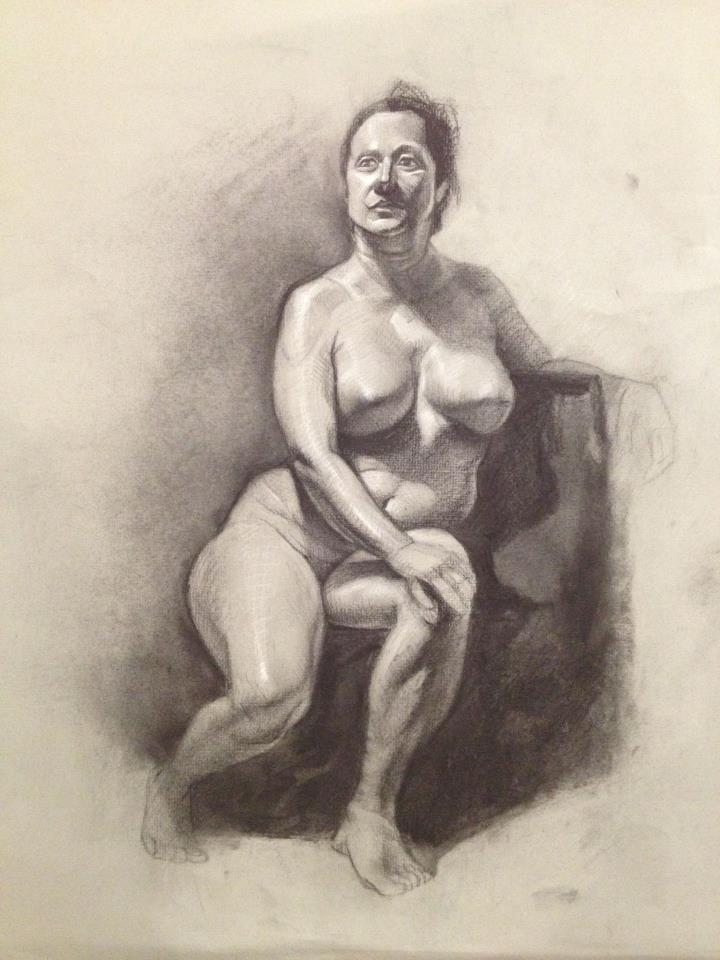 5 hours in class, live model, charcoal and white pencil on 18 x 24 tone paper.