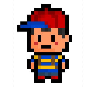 "Ness, the PSI-empowered young adventurer and hero of the quirky Super Nintendo RPG ""EarthBound"" (aka ""Mother 2"" in Japan), now derezzed to an ultra tiny 16 x 23 pixel resolution.  A lot of people remark about how my sprites look similar to those from ""Mother"", so I thought this would be rather appropriate. : )"