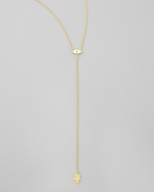 Jennifer Zeuner Evil Eye & Hamsa Lariat Necklace (available at Bergdorf Goodman) I've already mentioned my fixation on hamsa hands & warding off the evil eye lately.  I love superstitions & I recently read they have performance benefits too (Oprah says!).  So I'm  obsessed with this necklace & I'm pretty sure I must have it.