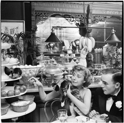 Stanley Kubrick: Betsy Von Furstenberg holding a cat in a restaurant, 1950. Source: Museum of the City of New York.