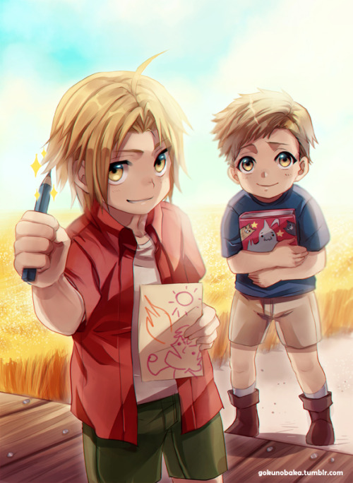 And cover done~! I hope they look like them XD;;; Ed and Al from FMA <3