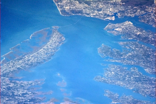 Back on the East Coast, the Chesapeake Bay from orbit. You can even see the causeway.