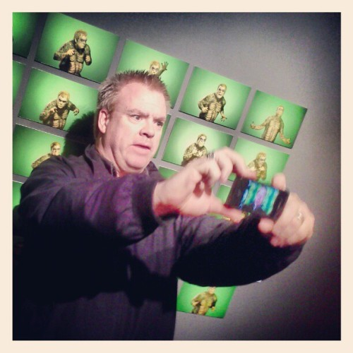 "@leilanmcnally striking a pose in front of ""green man"" at @pauldandrea 's ""Colors"" at M10 Studio"
