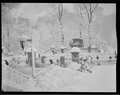State House steps and Shaw Memorial in the snow by Boston Public Library on Flickr.