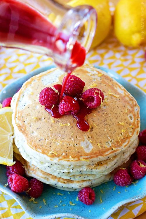 Lemon-Poppy Seed Pancakes with Raspberry Syrup #dessert#food#yummy#recipe#raspberry#poppy seeds#lemon#eggs#buttermilk#delicious#healthy