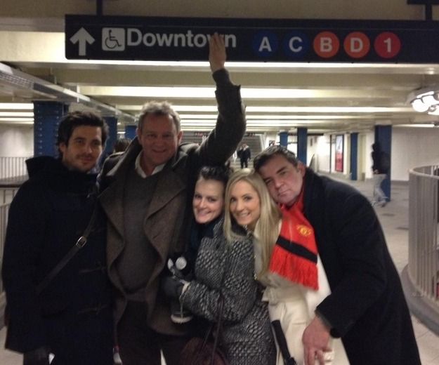 The cast of Downton Abbey riding the NYC Subway.