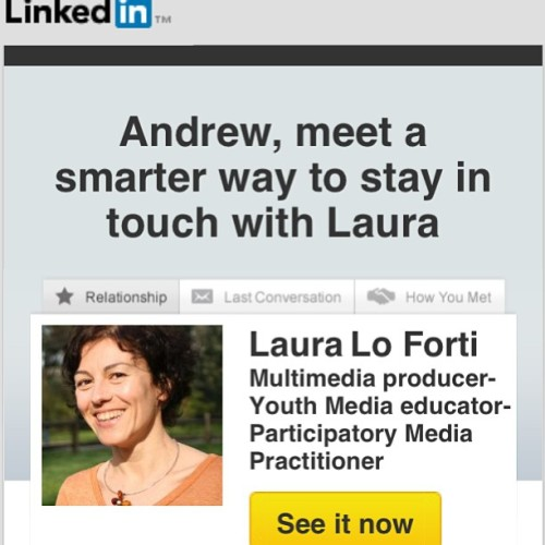 "Thanks to @linkedin for recommending a ""smarter"" way for me to stay in touch with my wife."