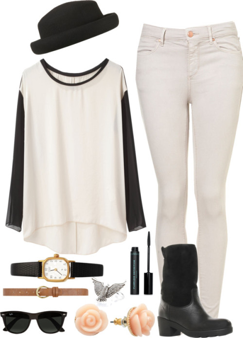 Untitled #1027 by ieleanorcalderstyle featuring skinny fit jeans  rag & bone long sleeve t shirt / Topshop skinny fit jeans / Kurt Geiger leather boots, $270 / American Apparel vintage jewelry / Lc lauren conrad / River Island metal jewelry, $13 / Ray-Ban logo sunglasses, $190 / Topshop porkpie hat / Dorothy Perkins / Bare Escentuals