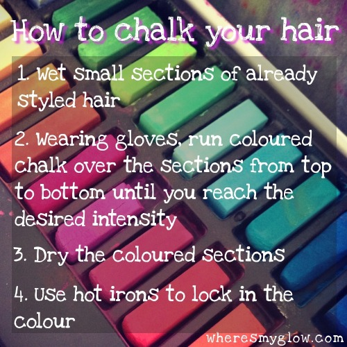 dazzlebook:  Hair chalking how to list, follows on from my previous step guide.