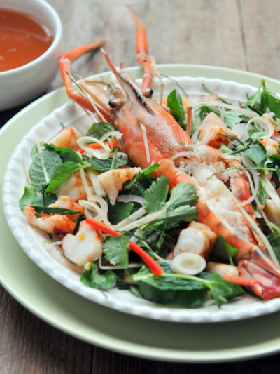 Grilled Prawn Salad with recipe (link)