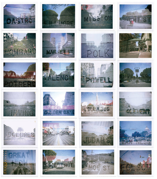 "thetiffy:  Polaroid SF just released this awesome poster with double exposures of famous San Francisco streets. Wonderful representation of sidewalk typography and the unique beauty of the City's iconic neighborhoods. ""Comprised of Polaroids shot using vintage1960's Land Cameras, the images are beautifully reproduced here (actual Polaroid size!) on an 18"" x 24"" poster. Professionally offset printed on 100 lb. gloss paper, this poster is the perfect way to show some love for the City by the Bay. Streets represented: Castro, Fillmore, Mission, Haight, Lombard, Market, Polk, Grant, Potrero, Valencia, Powell, Divisidero, Irving, Golden Gate, Columbus, Clement, Dolores, California, Judah, Van Ness, Great Highway, Chestnut, Noe, and Folsom. Text reads ""San Francisco Instant Streets 