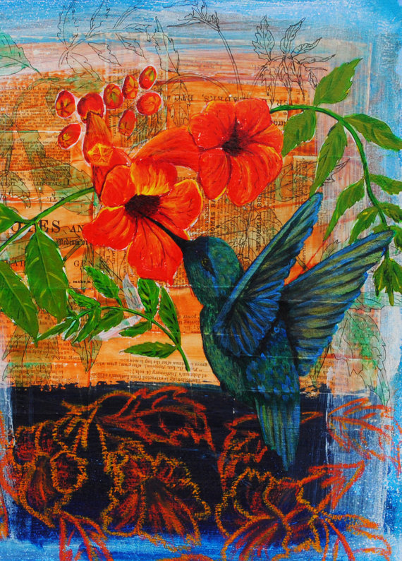 (via Hummingbird Art Print Blank Card by BobbisMixedMediaArt on Etsy)