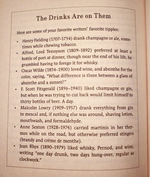 portia-makoma:  Great writers and their preferred drink(s)…