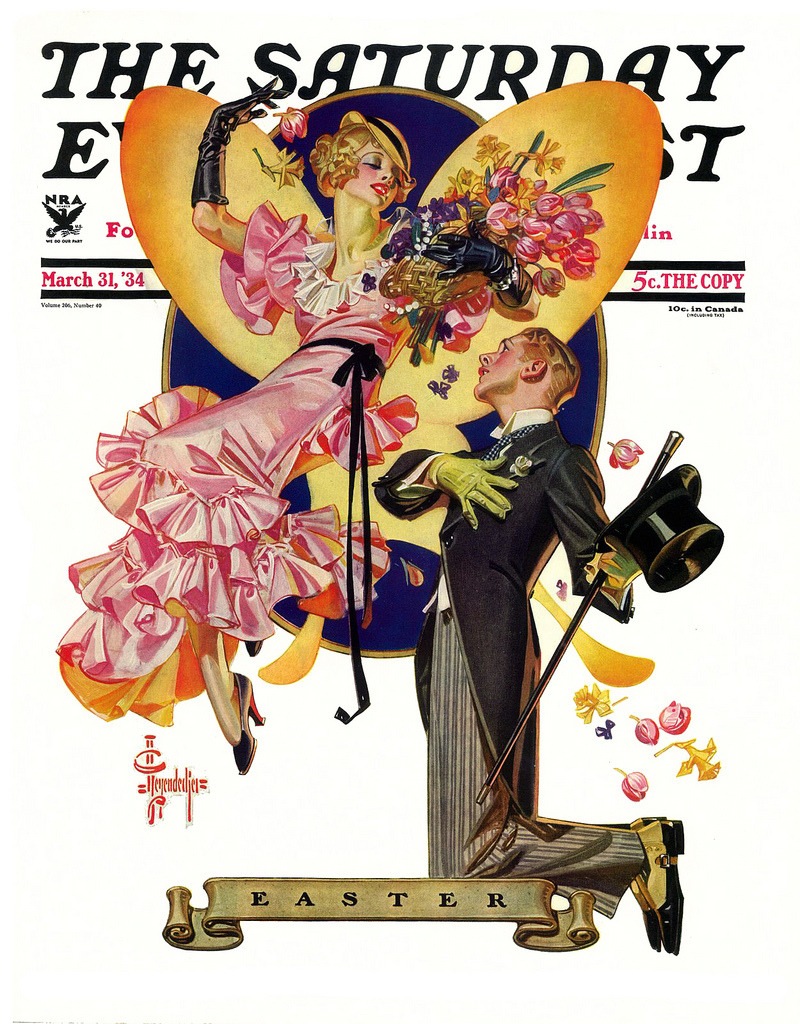 Easter Proposal by J.C Leyendecker, March 31st, 1934 (by Plum leaves)