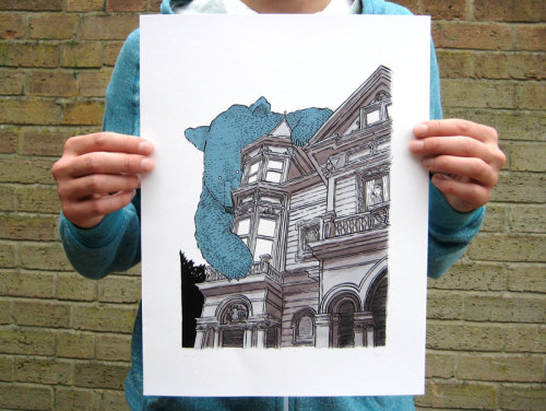I've just restocked this 'Giant Bear on Haight' print in my shop.