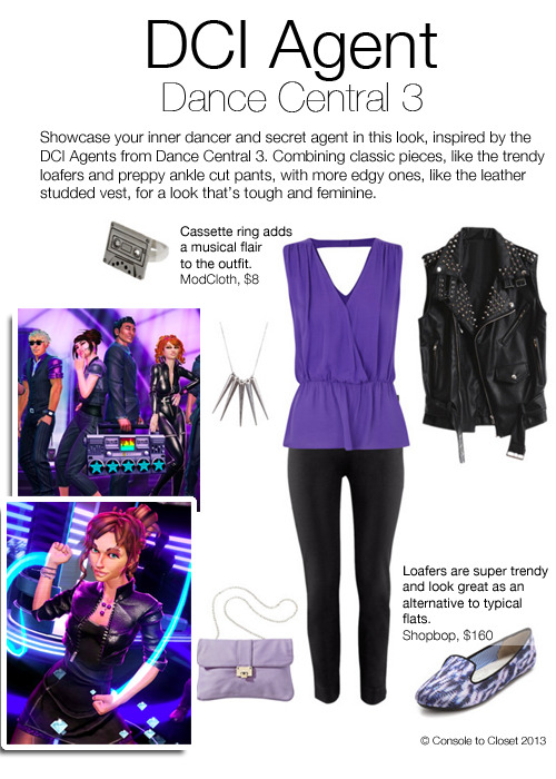 Inspired by the DCI Agents of Dance Central 3 Top: Harvey Nichols - Parker top, $300 / Vest: Modekungen - Leather vest, $230 / Pants: H&M - Ankle length trousers, $13 / Flats: Shopbop - Charles Phillip Yasmin Flats, $160 / Purse: Target - Mossimo Clutch, $18 / Ring: Modcloth - Play it Again Ring, $8 / Necklace: General Pants Co - Legacy Spiked Necklace, $20