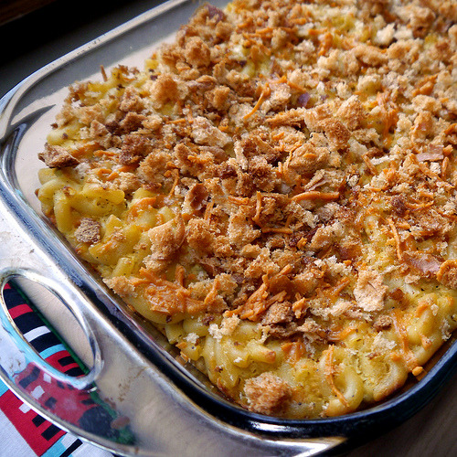 Baked Macaroni with a Twist from Robin Robertson's The Vegetarian Meat & Potatoes Cookbook (page 248). Surprisingly creamy for baked mac -n- cheese, with a crazy awesome topping made of breadcrumbs and cheese (cheddar Daiya).