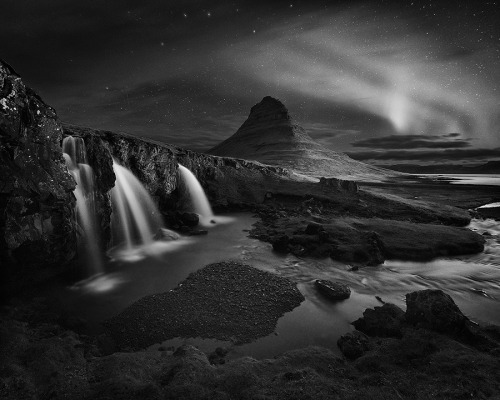 firsttimeuser:  Aurora Borealis over Kirkjufellsfoss in the west of Iceland. photo by Alister Benn