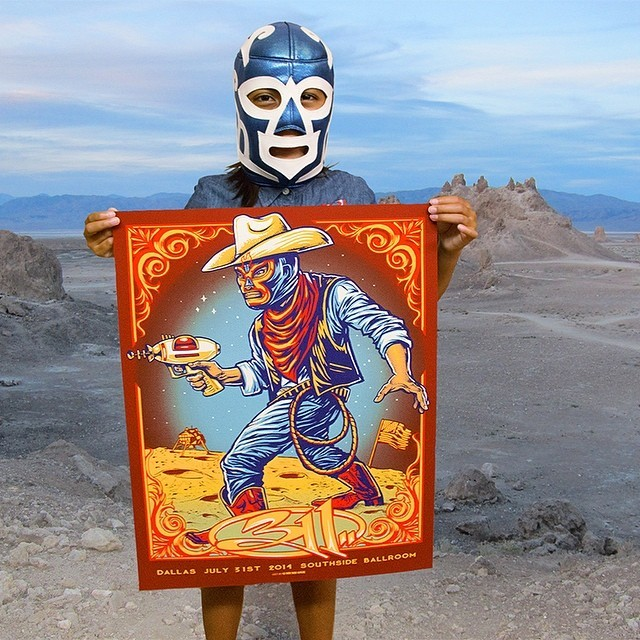 Tonight's #poster #art by #Munk_One for #311#Dallas #summer #space #cowboy #lucha #mask #music