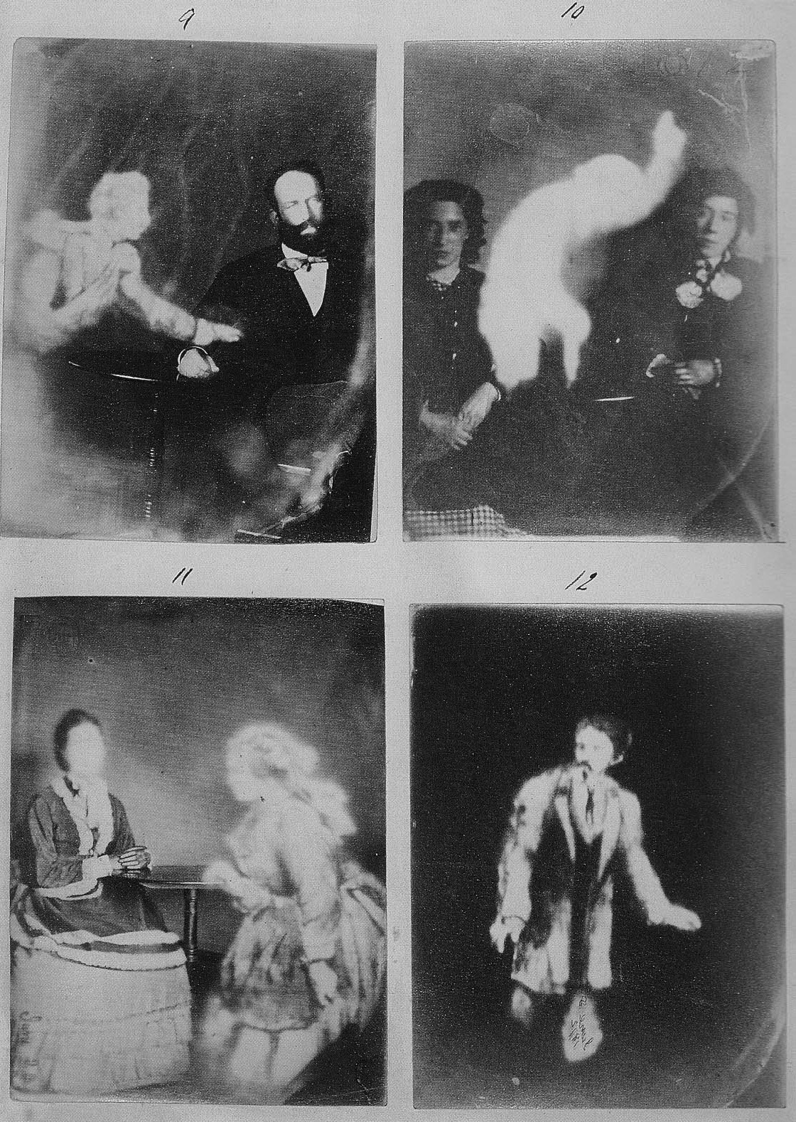 Four spirit photographs, 1800s.