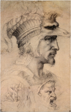 denisforkas:  Michelangelo - Count of Canossa (Study for Warrior's Head). 1550-1580