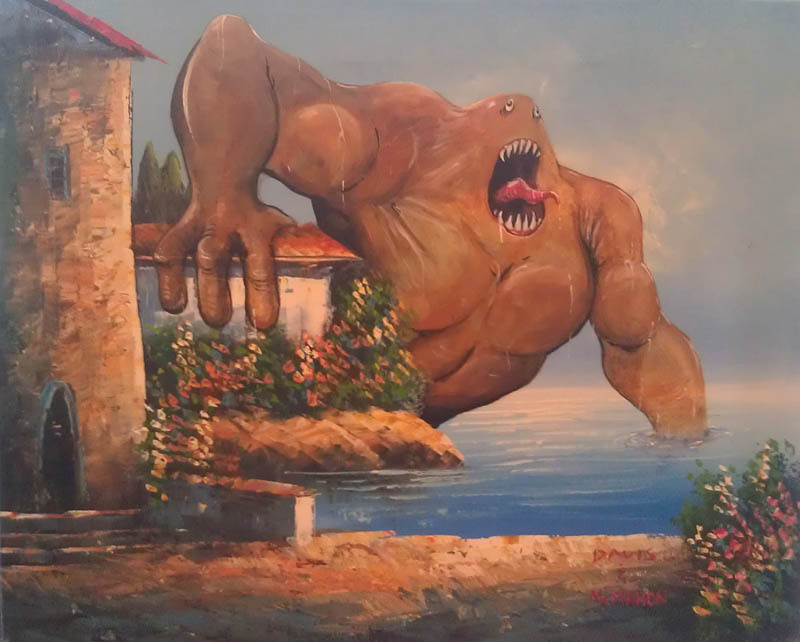 prettyclever:   Adding Monsters to Thrift Store Paintings