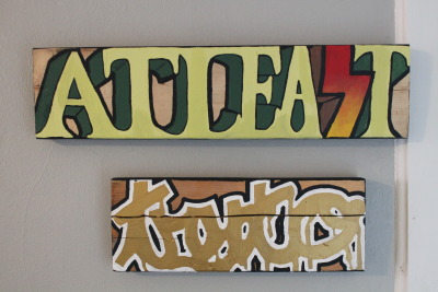 """at least try to"" 22"" x 5.5"" x 1.5"" & 14.75"" x 5.5"" x 1.5"" acrylic on wood for sale. contact me for more information."