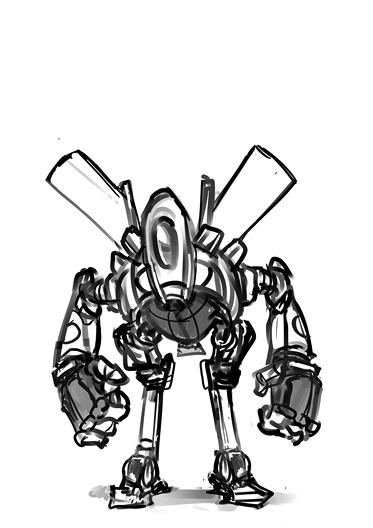 Random doodly robot.. thing. It's hard to just mess around with shapes because my brain will just try to turn it into robots. Robots robots robots robots robots.