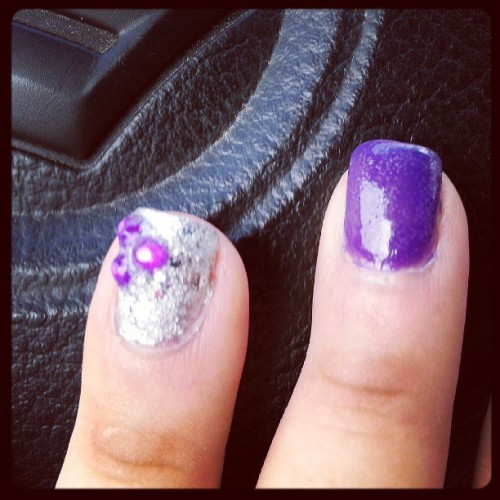 #nails #nailpolish #purple #diy #rhinestone