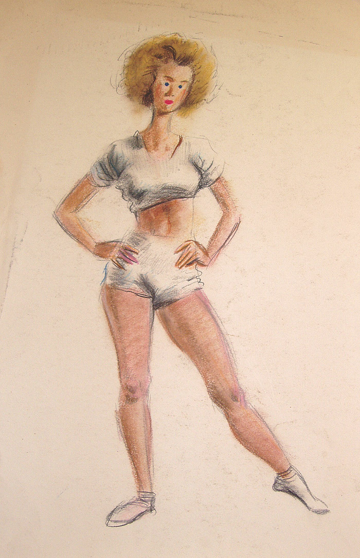 220. Figure drawing by Ward, ca. mid-1940s.