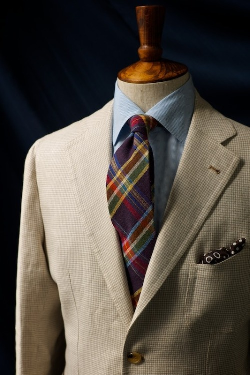 Tie Knots for Antonio and Agyesh Checks on Checks Silk Madras by Drake's Silk Spots by Liverano