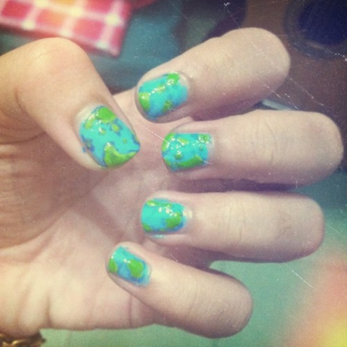 🌍🌎🌏 #earth #nailart #nail #paint #fashion #art #love #green #instalike  #iphonesia