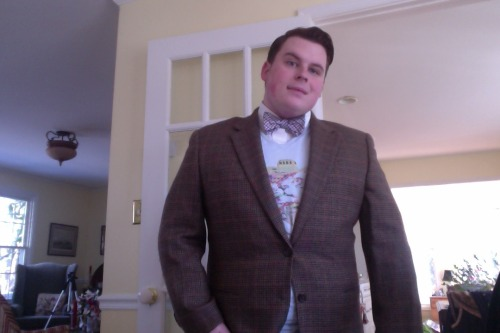 zacheser:  Outfit of the Day. 1 Feb 2013. HAPPY FATSHION FEBRUARY! Blazer - Thrifted, 46 S. Holy Fuck! v-neck t-shirt - Bought at a show, L. Bow-Tie - Penguin by Munsingwear via Nordstrom Rack Shirt - Thrifted, XL.